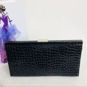 Banana Republic Genuine Leather Black Croc Clutch